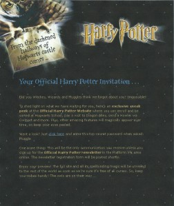 First Official Harry Potter Newsletter